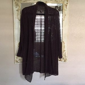 Tommy Bahama open cardigan. Brown. Size Small
